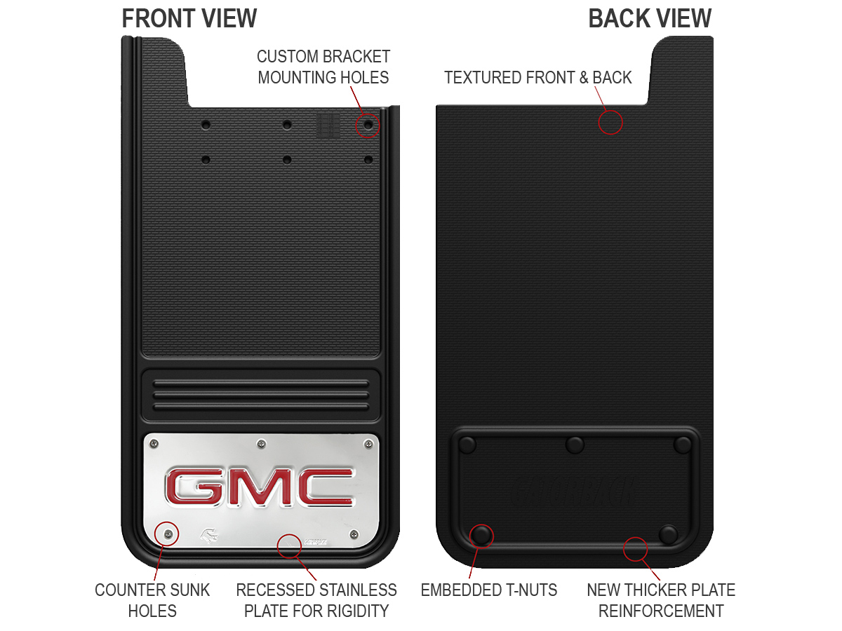 Gatorback Mud Flaps Front & Back Comparison
