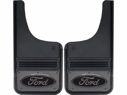 Gatorback Black Ford Oval with Gunmetal Finish Mud Flaps