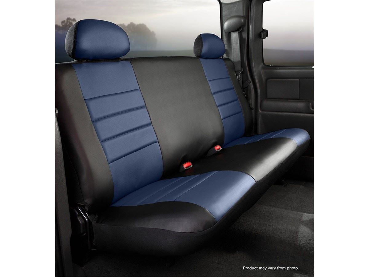Phenomenal Fia Leatherlite Custom Seat Cover Blue Black Rear Bench Seat Adjustable Headrests Caraccident5 Cool Chair Designs And Ideas Caraccident5Info