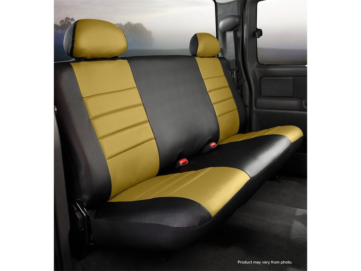 Rear Bench Seat ~ Fia leatherlite custom seat cover mustard blk rear
