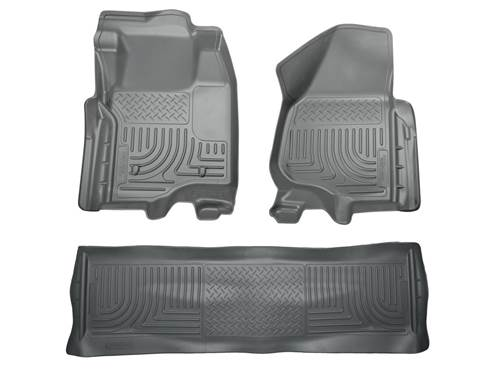 Picture of WeatherBeater Floor Liner - Gray - 2 Piece Front/1 Piece Rear - Will Not Fit w/Manual 4x4 Transfer Case Shifter - Crew Cab