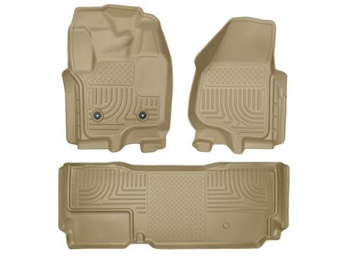 Picture of WeatherBeater Floor Liner - Tan - 2 Piece Front/1 Piece Rear - w/o Manual 4x4 Transfer Case Shifter - New Body Style - Extended Cab