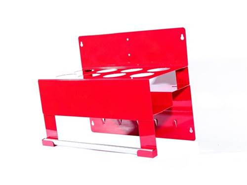 Picture of Garage/Shop Organizer - Aerosol Can Holder - Red - 2 Row - w/Towel Holder - Capacity 8 Cans