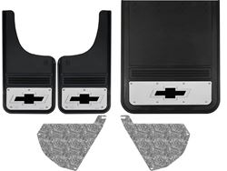 Chevy Silverado 3500HD Black Bowtie Gatorback Dually Mud Flap Set