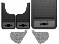 Chevy Silverado 3500HD Bowtie Logo With Gunmetal Finish Gatorback Dually Mud Flap Set