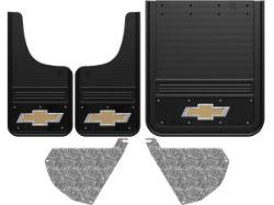 Chevy Silverado 3500HD Gold Bowtie With Black Wrap Gatorback Dually Mud Flap Set