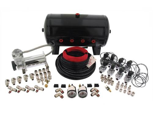 "Picture of 4-Way Analog Air Management System - 3/8"" Valves - 1/2"" Air Lines -  Gallon Tank - 380C Compressor"