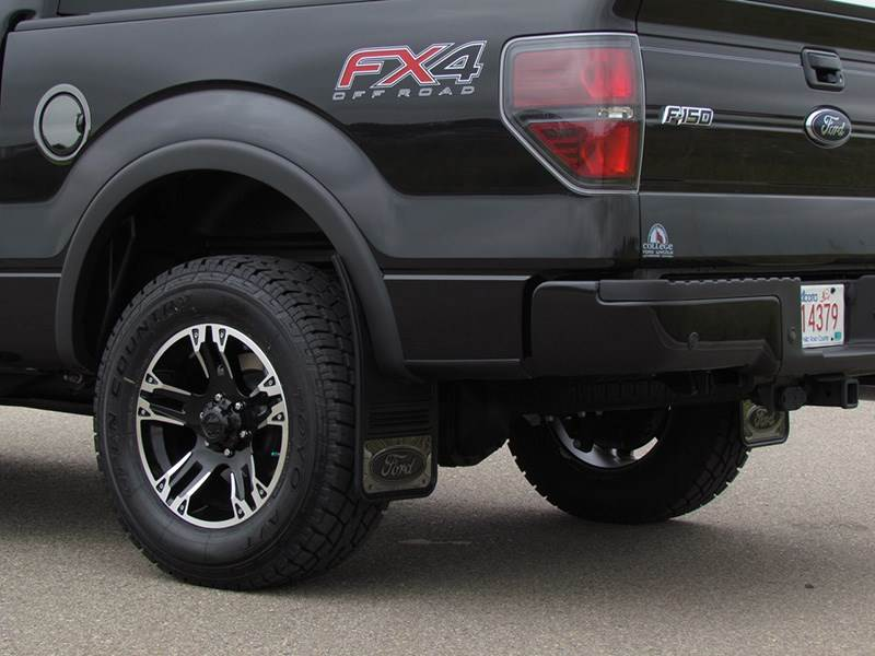 "Truck Hardware Gatorback Gunmetal 12""x23"" Ford Logo Black Mud Flaps - GM1223F-B - SharpTruck.com"