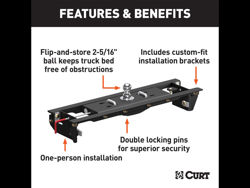 Picture of Curt Double Lock EZr Gooseneck Hitch Kit - Includes PN[60619 And 60645}