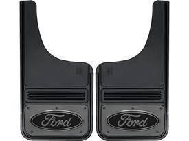 Gatorback Black Ford Oval with Gunmetal Finish Mud Flaps