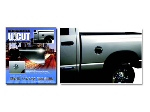 """Picture of Proflex U-Cut Chrome Gas Tank Skin - 1 pc. - 8"""" x 8"""" ABS With Pattern Material"""