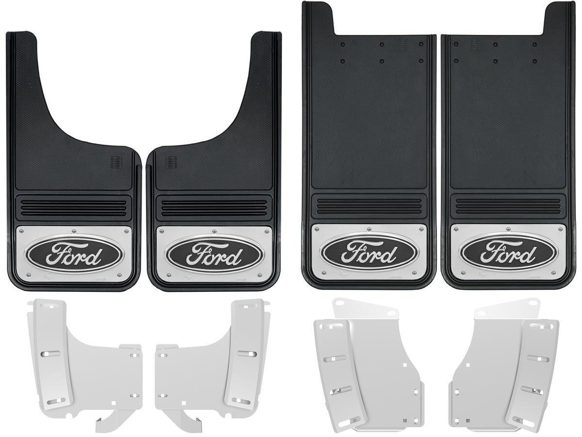 2017 Ford F250 F350 Black Oval Gatorback Mud Flap Set